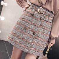 2018春装新款韩版高腰ulzzang格子半身裙a型格纹短裙a字裙包臀女
