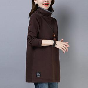 安妮纯加厚卫衣女2020秋冬新款显瘦中长款上衣女宽松高领打底衫