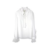 雪纺衬衫女长袖2018春装新款V领木耳边荷叶袖流苏系带宽松上衣