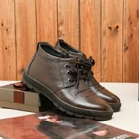 国内单 剪标男鞋冬装高帮加绒皮鞋男式日常商务休闲工装加棉皮鞋