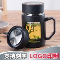 汉馨堂 玻璃杯 透明带把大容量办公水杯带盖过滤泡茶杯可支持logo定制