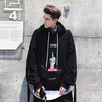 新款套头连帽卫衣男2018宽松嘻哈青少年BF情侣休闲运动男装秋