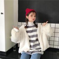 毛毛圈圈外套女短款秋冬新款韩版潮学生原宿风保暖羊羔毛开衫上衣