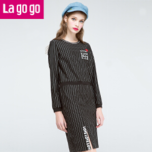 Lagogo2016冬季新款时尚条纹长袖连衣裙女韩版圆领高腰印花中裙