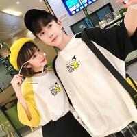 情侣装夏装男女韩版宽松短袖T恤学生休闲插肩袖撞色二杠体恤半袖