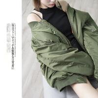 男女同款冬装韩版休闲时尚宽松棉衣飞行夹克外套潮E7456