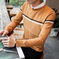 新款秋季男士针织衫S码矮个子假两件毛衣男潮韩版修身小码男装毛