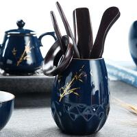 复古陶瓷茶道六君子6件套实木家用茶具配件套组