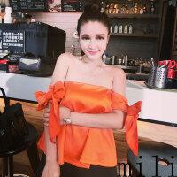 性感上衣潮 夏季新品时髦裹胸系带宽松纯色缎面小礼服外穿衣服女