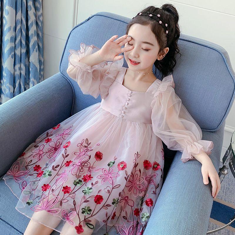 【到手价:84元】童装2020夏季新款女童定行刺绣裙儿童六一表演裙演出服公主连衣裙