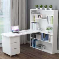 电脑桌转角书桌书柜书架组合简约拐角小户型学生家用一体写字桌