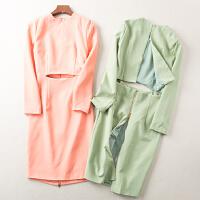 冬季新款韩版纯色性感显瘦气质连衣裙