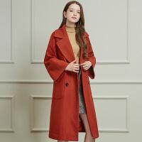 冬装新品 宽松长款双排扣呢大衣毛呢外套女D748655D00