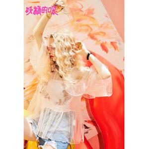 妖精的口袋一字肩上衣2018新款甜美荷叶边超仙宽松雪纺衫女