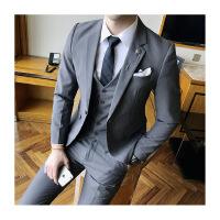 新款秋冬男士西服套装韩版修身职业小西服新郎伴郎结婚礼服三件套