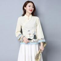春装新款中国风女装文艺复古修身唐装旗袍上衣长袖棉麻衬衫女