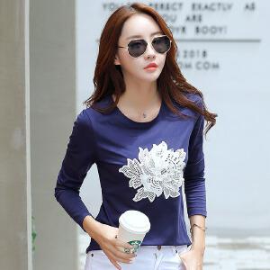 春秋新款女装上衣韩版刺绣体恤女修身棉质长袖T恤女打底衫潮