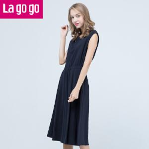 lagogo2016年秋季新款时尚高腰阔腿休闲连体裤