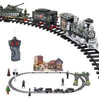 电动冒烟遥控轨道可充电蒸汽火车儿童玩具套装 D火车仿真模型