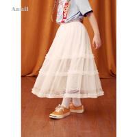 【活动价:162】安奈儿童装女童网纱半身裙长款2019夏装新款国潮公主裙洋气纱裙子