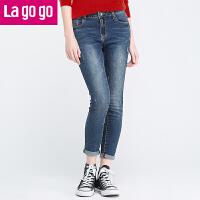 Lagogo/拉谷谷冬季新款女装裤子高腰长裤显瘦牛仔裤FDNN53A536