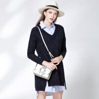 艾尔玛欧美秋款宽松长袖女装毛衣 V领时尚百搭套头针织连衣裙