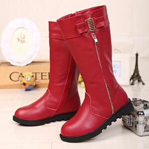 巴布豆童鞋 女童靴子2015冬季新款女童马丁靴单靴韩版潮长筒靴子