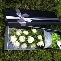 情人节鲜花速递同城北京石家庄礼物送女友爱人朋友生日礼物白色玫瑰花礼盒装11朵玫瑰