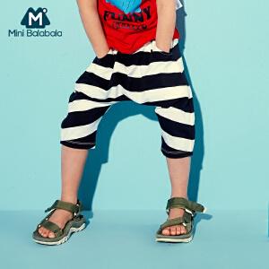 迷你巴拉巴拉儿童条纹男幼童短裤新款夏季小孩时尚胯裆七分裤