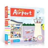 英文原版绘本正版Busy Airport 繁忙的机场纸板机关操作书幼儿英语启蒙学习 Busy系列进口儿童纸板书儿童玩具