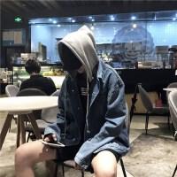 新款秋季韩版青少年上衣外套休闲连帽牛仔衣男宽松假两件夹克