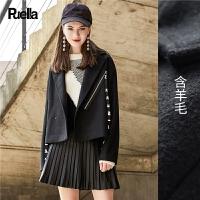 毛呢西装外套女2018春新款韩版学生bf矮个子黑色翻领短款呢子大衣