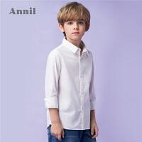 【3件3折:71.7】安奈儿童装男童翻领长袖衬衫白色秋装2019新款时尚纯棉格子上衣