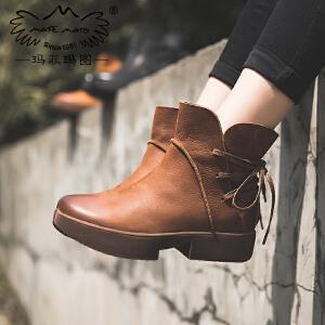 玛菲玛图马丁靴女英伦风秋季新款短靴休闲中跟松糕底个性后系带机车靴1610-13