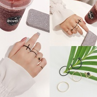网红组合套装戒指女极细食指戒子尾戒个性日韩潮人学生小指装饰