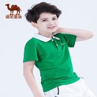 骆驼童装男童翻领T恤夏季纯色休闲吸汗透气短袖POLO衫棉质上衣