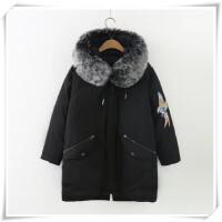 大码200斤胖mm冬装棉衣女新款韩版宽松中长款大毛领加厚保暖