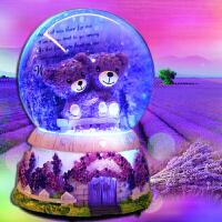 生日礼物情人节520送女友 生日礼物 女生老婆闺蜜 创意礼品水晶球音乐盒 深情相拥小熊水晶球