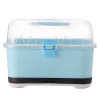 婴儿奶瓶收纳箱盒便携式大号宝宝餐具储存盒沥水尘晾干架奶粉盒O