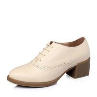 Tata/他她春季专柜同款时尚通勤百搭牛皮革女单鞋2Q922AM6