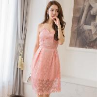 2018夏季新款性感气质夜店女装吊带V领蕾丝露背修身小礼服连衣裙