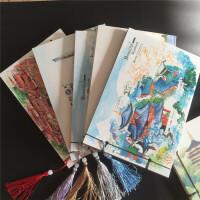 古风本子笔记本文具 复古牛皮纸彩色页地方风景本线装本流苏 中国风手账本小清新