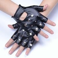 演出个性铆钉半截朋克 韩版骷髅霹雳街舞非主流男士 半指手套 均码