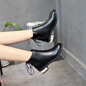 短靴女单靴女靴子2018秋季新款英伦风粗跟中跟短筒靴韩版百搭侧拉链短靴女潮2333DTH