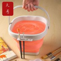 折叠硅胶美术涮笔洗笔筒大号3升水粉颜料水彩画画水桶器绘画器洗颜料的桶塑料橡胶单个售价 方形颜色可备注