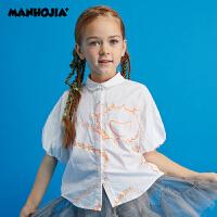 商场同款漫画家童装女童2020夏装新款儿童花苞短袖印花衬衫时髦