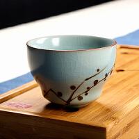 功夫茶具汝窑小茶杯品茗杯子创意主人杯陶瓷喝茶杯个人泡茶杯单杯