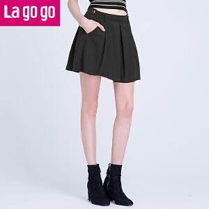 Lagogo2017年夏季新款黑色防走光褶皱高腰半身裙女A字小黑裙短裙