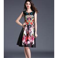 无袖连衣裙春秋款新款时尚收腰中长款裙子气质对条印花a字裙