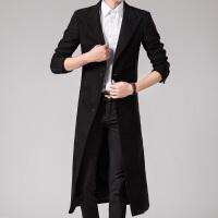 冬季毛呢长款英伦男士加厚风衣外套帅气长过膝修身韩版呢子大衣上新
